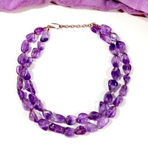 Vintage Double Strand Amethyst Sterling Necklace
